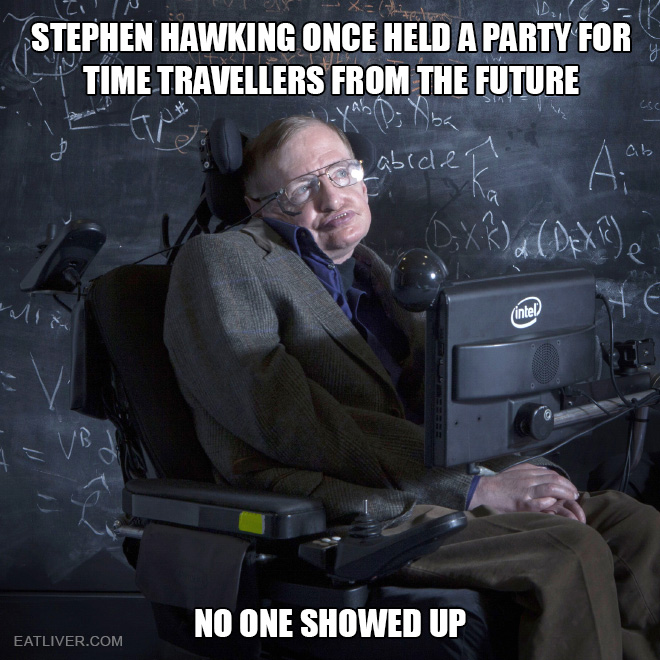 Stephen Hawking once held a party for time travellers from the future. No one showed up.