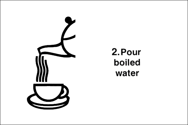 Step 2: Pour boiled water