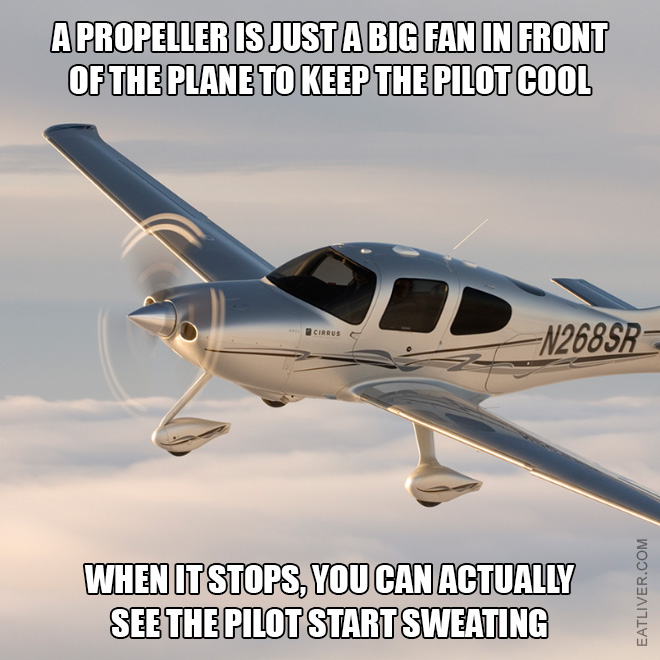 A propeller is just a big fan in front of the plane to keep the pilot cool. When it stops, you can actually see the pilot start sweating.