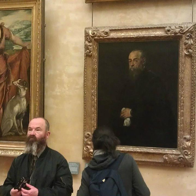 Bearded man and his painting doppelgänger.