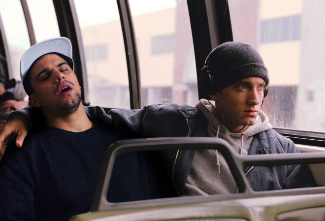 Riding a bus with Eminem.