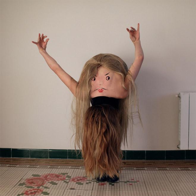 Creepy body art creature dancing.