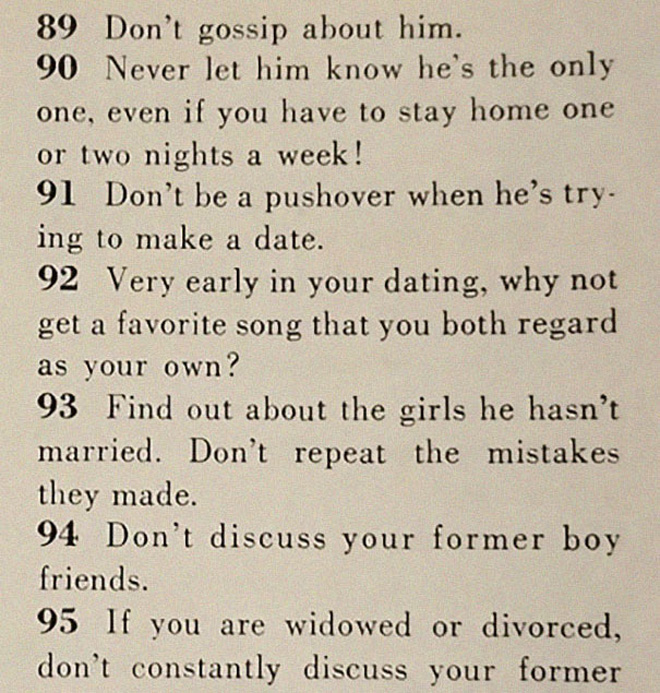 Proper dating advice from 1958.