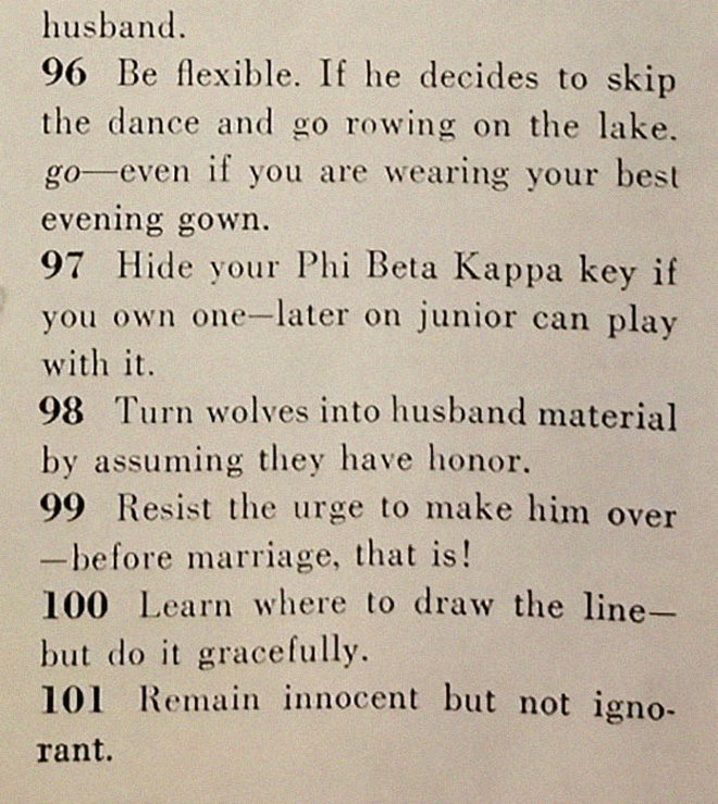 Proper dating advice from 1950s.