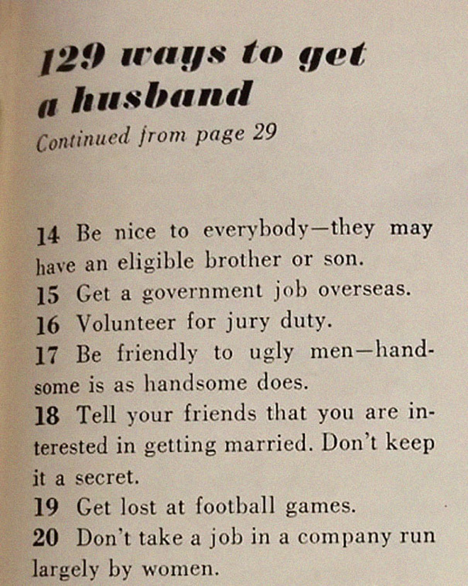 129 ways to get a husband.