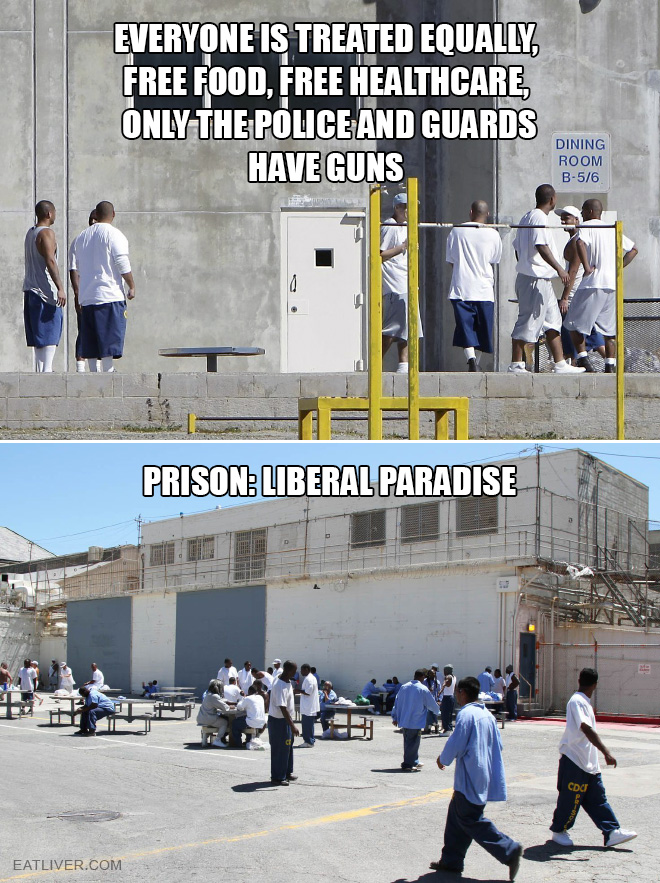 Everyone is treated equally, free food, free healthcare, only the police and guards have guns.