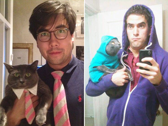 Awkward guys posing with their cats.