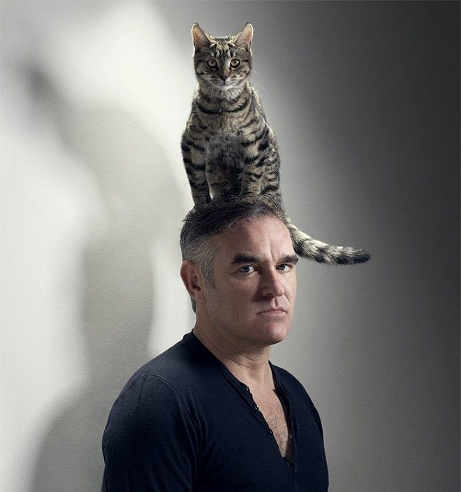 Morrissey posing with a cat on his head.