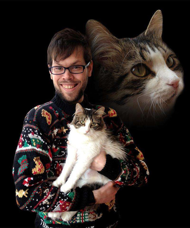 Awesome glamour shot with a cat.