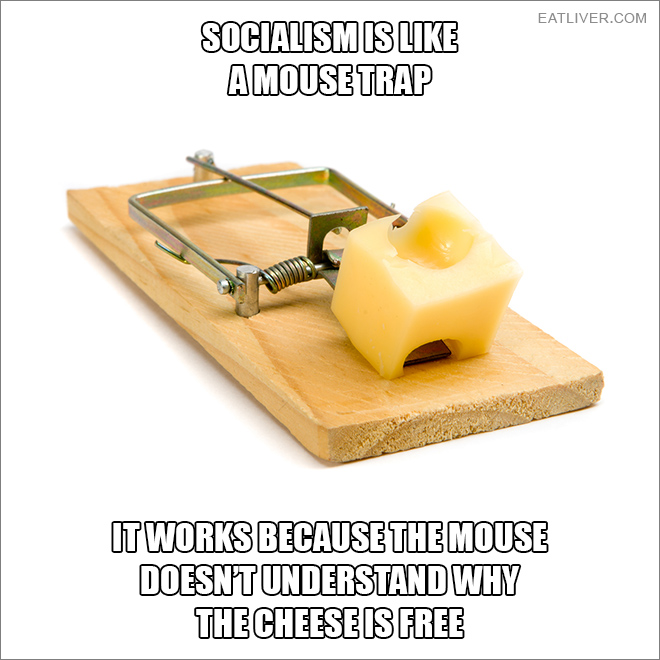 Socialism works because the mouse doesn't understand why the cheese is free.