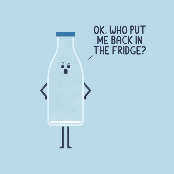 Angry milk bottle.