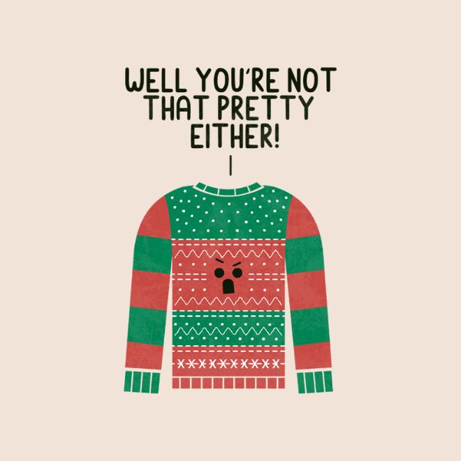 Angry ugly Christmas sweater.