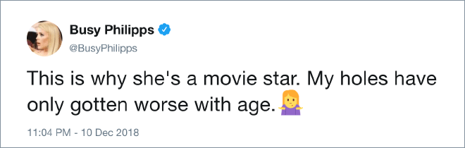This is why she's a movie star. My holes have only gotten worse with age.
