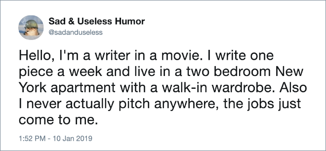 Writer in movies.