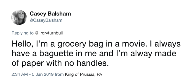 Grocery bag in movies.