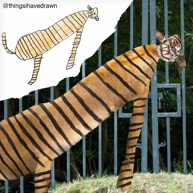 Tiger doodle recreated as a real living thing.
