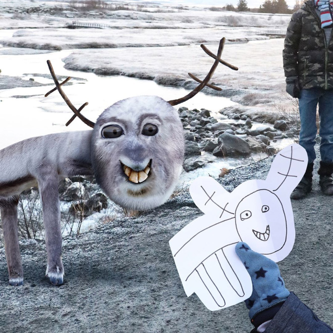 Reindeer doodle recreated as a real living thing.