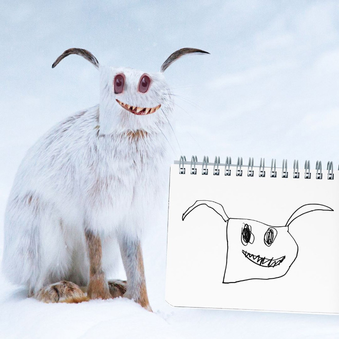 Rabbit doodle recreated as a real living thing.