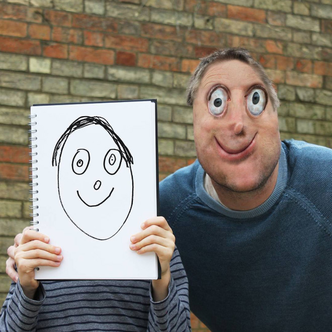 Man doodle recreated as a real living thing.