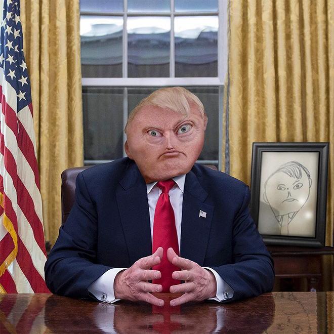 Trump doodle comes alive.