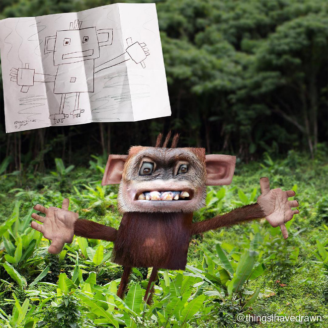 Monkey doodle recreated as a real living thing.
