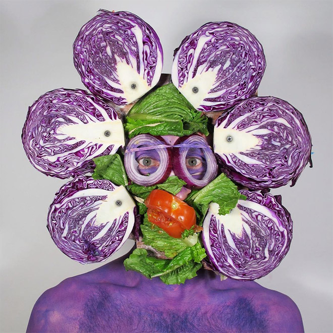 Crazy self portrait with cabbage.