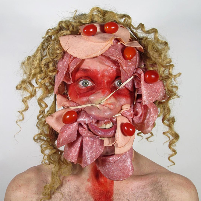 Crazy self portrait with cold cuts.