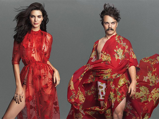 Kendall Jenner and Kirby posing in red dresses.