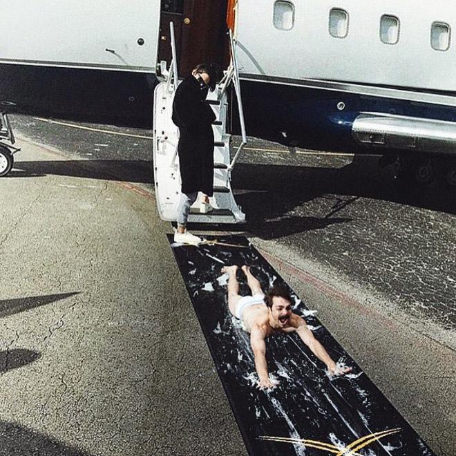 Kendall Jenner arriving via plane.