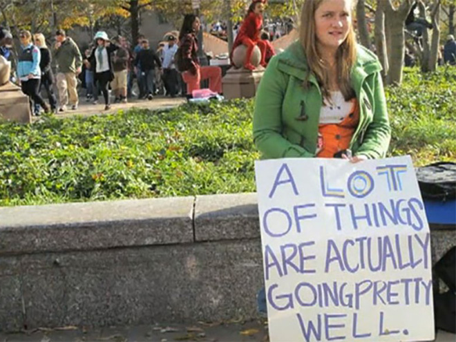 Typical Canadian protester.
