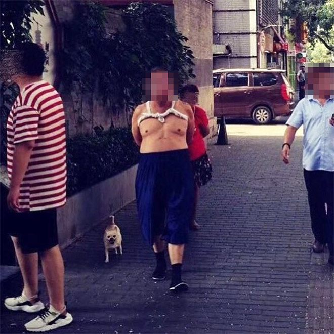 Beijing bikini wearer taking a walk.