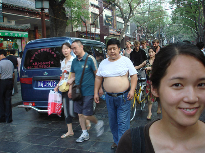 Guy wearing a Beijing bikini.