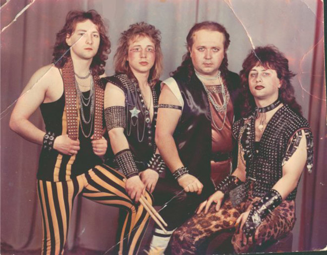 Ridiculous heavy metal band photo.