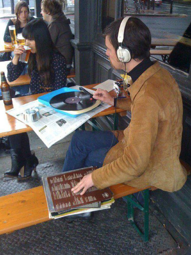 Hipster listening to music.