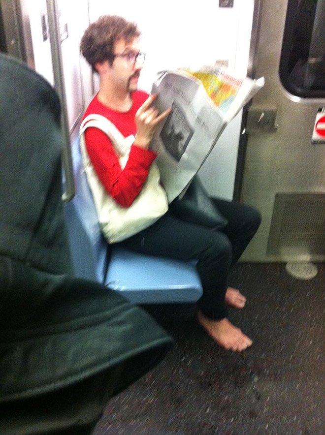 Crazy hipster in a subway.