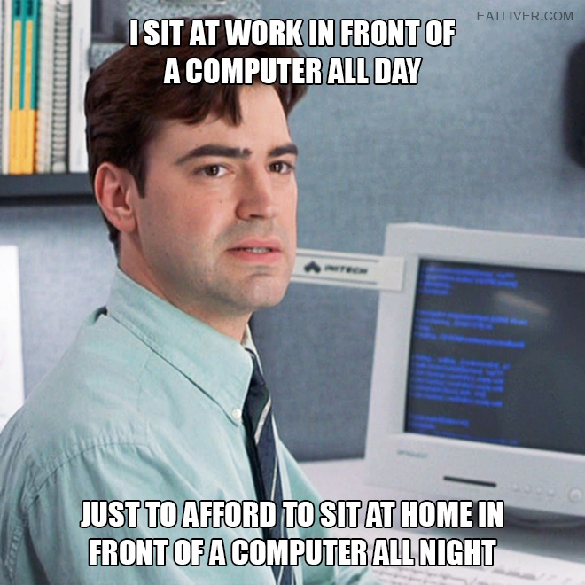 I sit at work in front of a computer all day just to afford to sit at home in front of a computer all night.