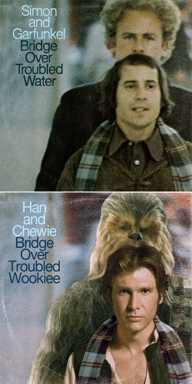 Simon and Garfunkel album cover improved with Star Wars characters.