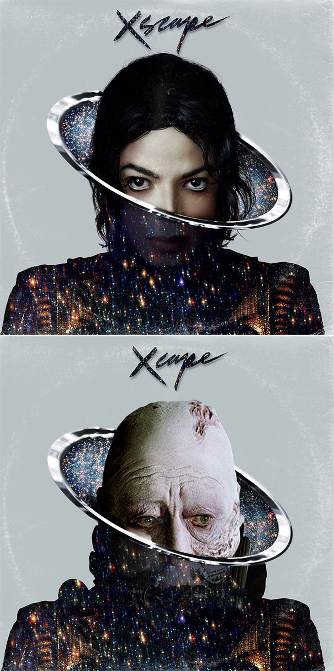 Michael Jackson album cover improved with Star Wars characters.