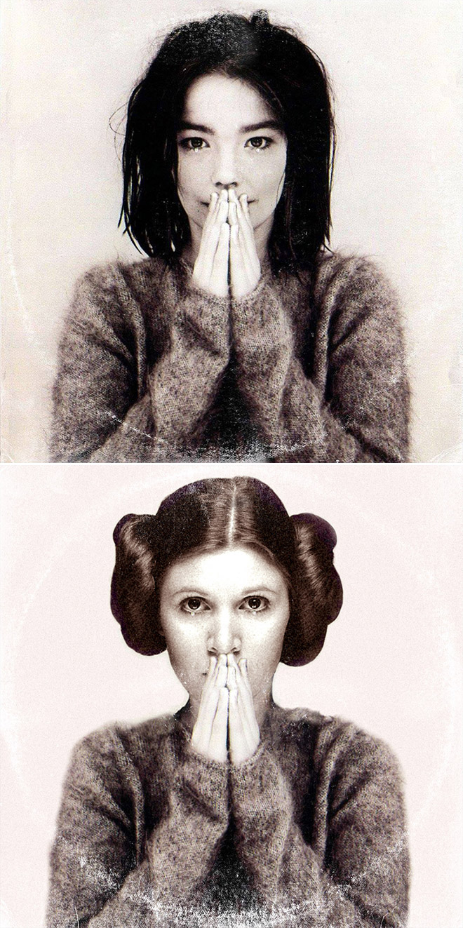 Bjork album cover improved with Star Wars characters.