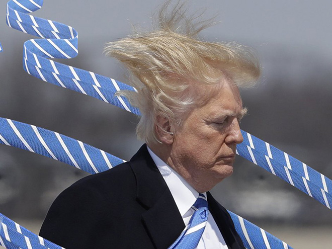 People are photoshopping Trump with extremely long tie to annoy him.
