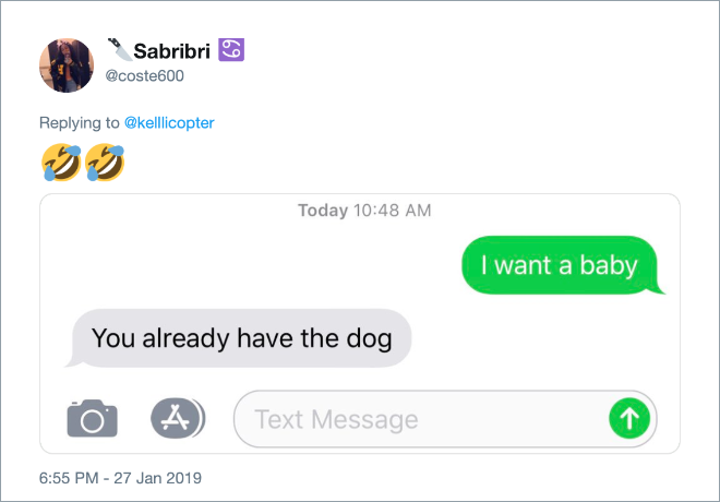 """Funny answer to """"I want a baby"""" text from girlfriend."""