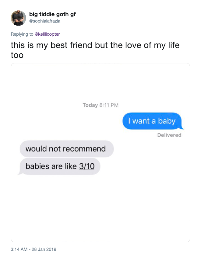 """Clever answer to """"I want a baby"""" text from girlfriend."""