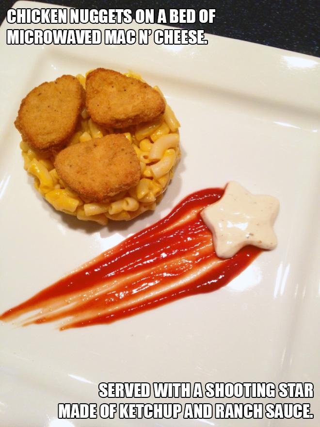 Low budget gourmet food recipe.