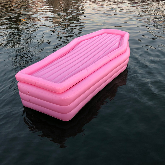 Just in time for Summer: pink coffin floatie.