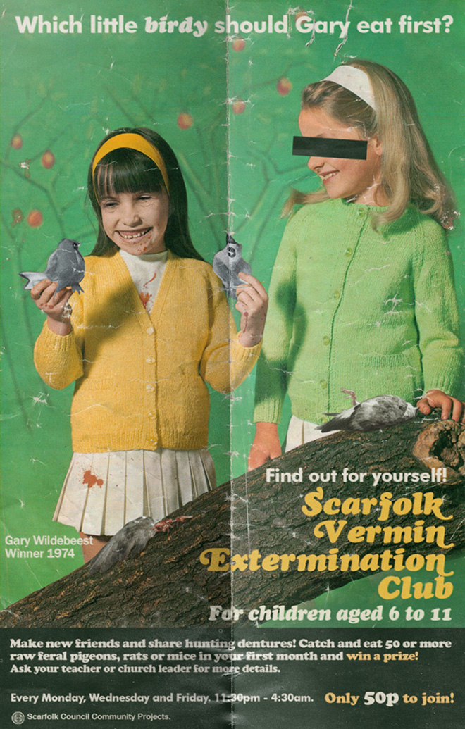 Creepy 1970s-era poster from an imaginary British town.