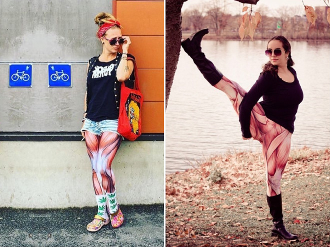 Muscle leggings: weird fashion choice.
