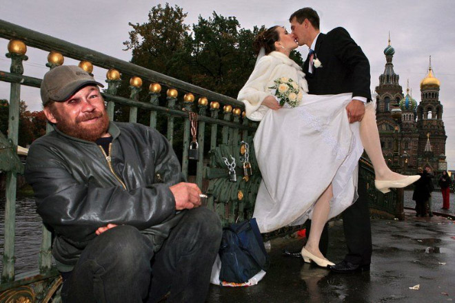 Typical Russian wedding picture.