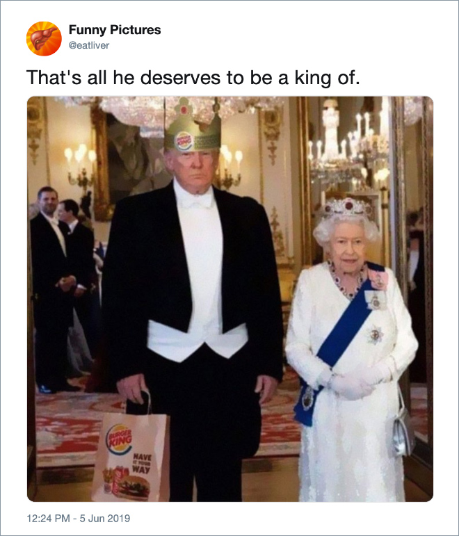 Twitter jokes about Trump visiting the UK.
