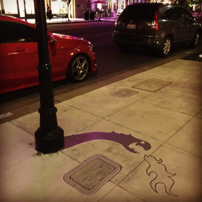 Fake shadow painted by a street artist to confuse people.