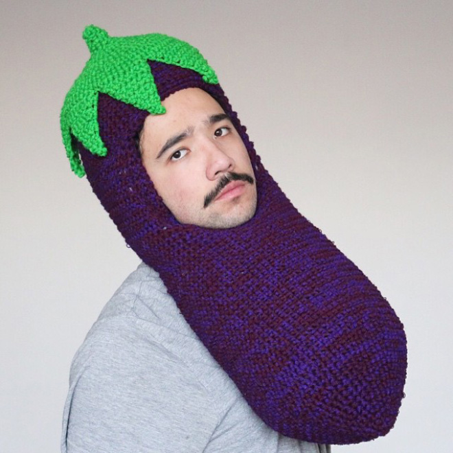 Hilarious crocheted food hat.